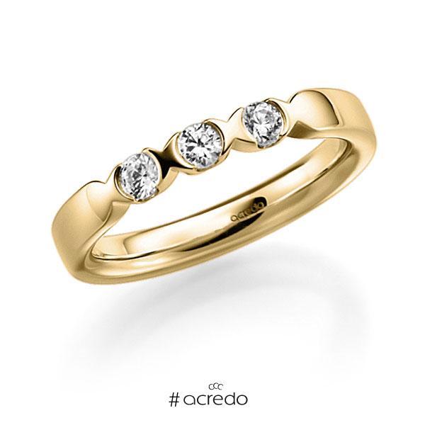 Memoire/Diamantring in Gelbgold 585 mit zus. 0,3 ct. Brillant tw, vs von acredo