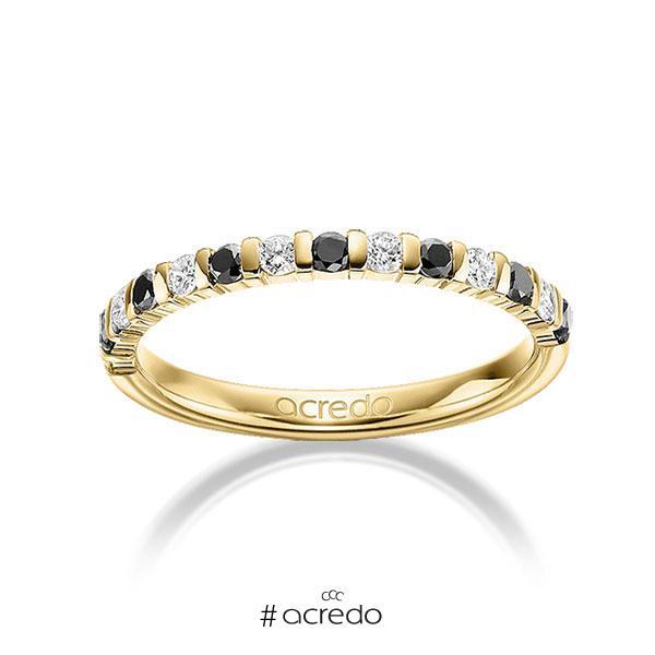 Memoire/Diamantring in Gelbgold 585 mit zus. 0,42 ct. Brillant tw, si schwarz von acredo