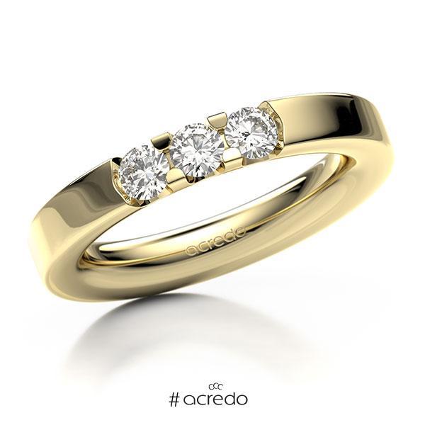 Memoire/Diamantring in Gelbgold 585 mit zus. 0,45 ct. Brillant tw, vs von acredo