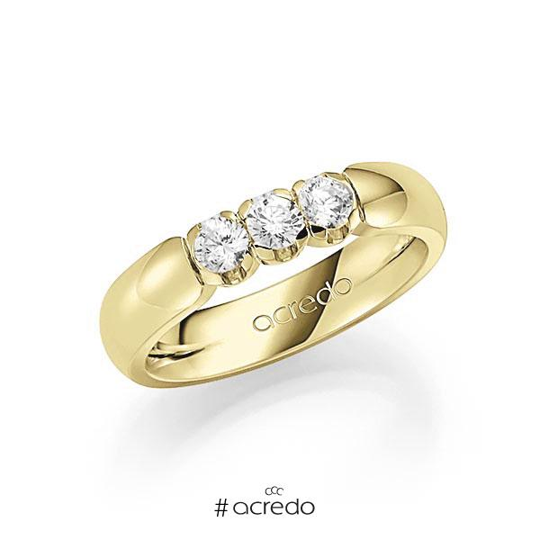 Memoire/Diamantring in Gelbgold 585 mit zus. 0,45 ct. Brillant tw, vs von acredo