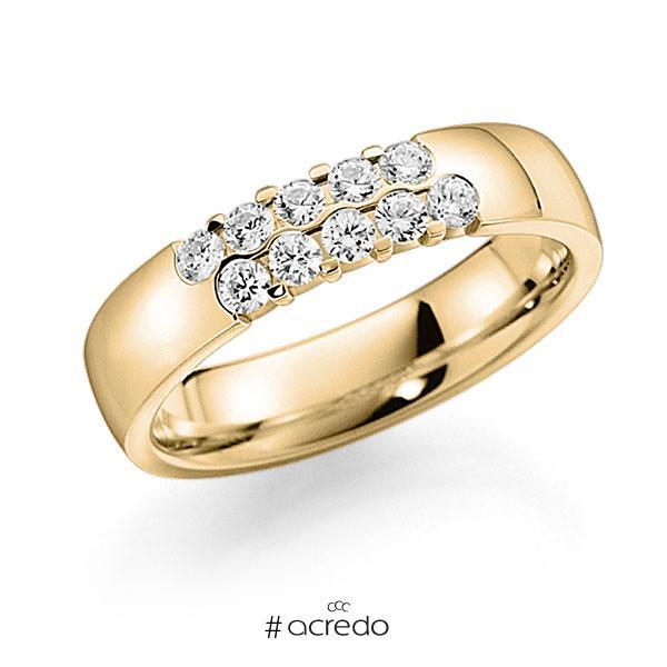 Memoire/Diamantring in Gelbgold 585 mit zus. 0,4 ct. Brillant tw, vs von acredo