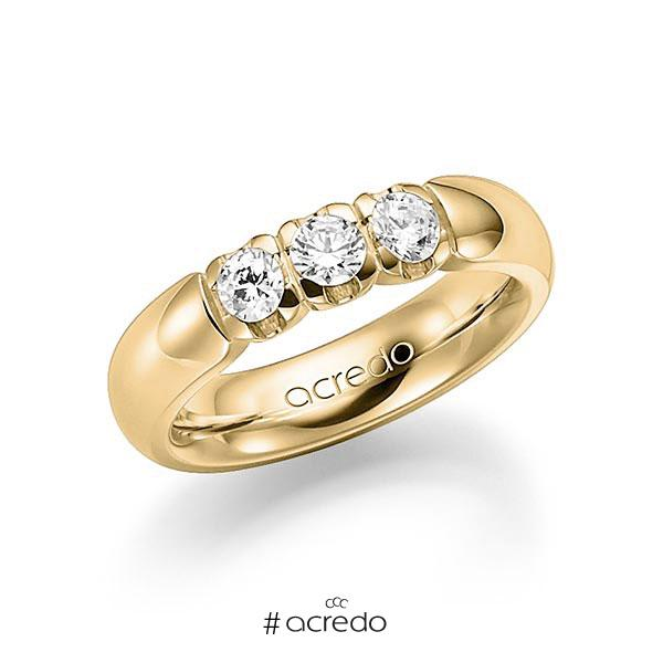 Memoire/Diamantring in Gelbgold 585 mit zus. 0,6 ct. Brillant tw, vs von acredo