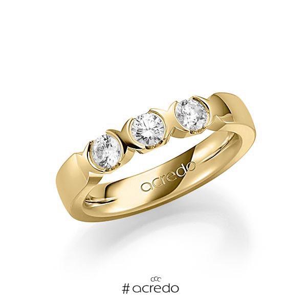 Memoire/Diamantring in Gelbgold 585 mit zus. 0,6 ct. Brillant tw, vs von acredo