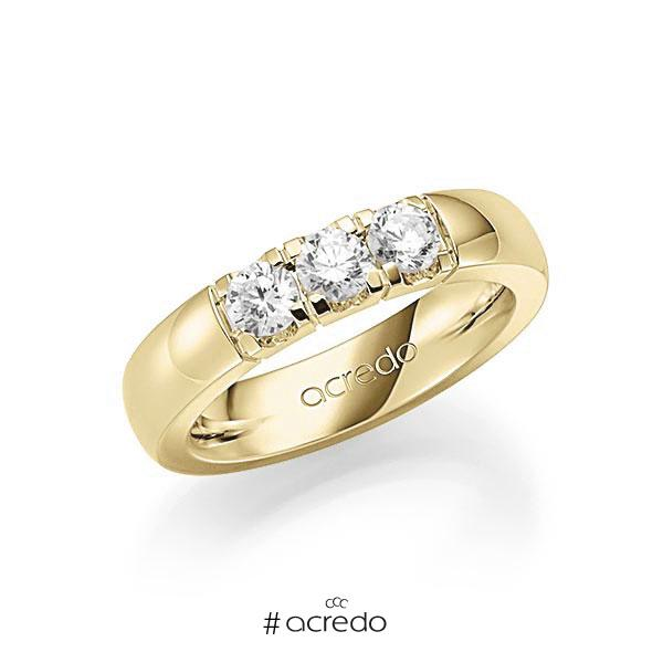 Memoire/Diamantring in Gelbgold 585 mit zus. 0,75 ct. Brillant tw, vs von acredo