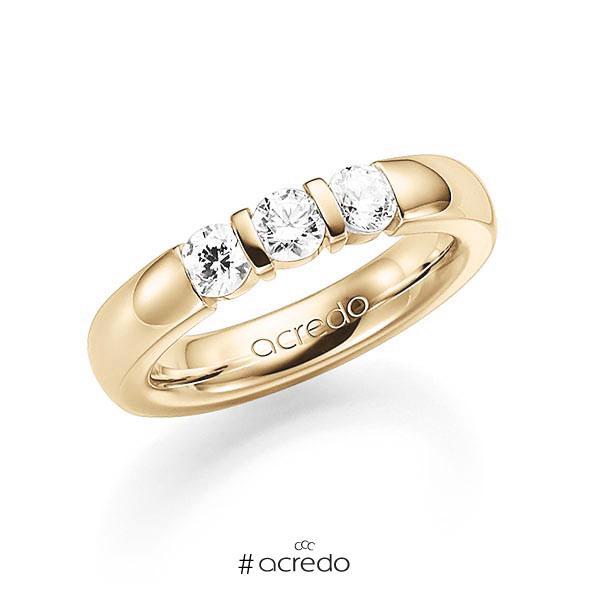 Memoire/Diamantring in Gelbgold 585 mit zus. 0,75 ct. Brillant tw, vs von acredo