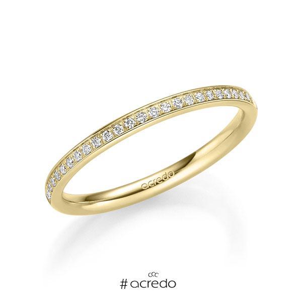 Memoire/Diamantring in Gelbgold 585 vollausgefasst mit zus. 0,295 ct. Brillant tw, si von acredo