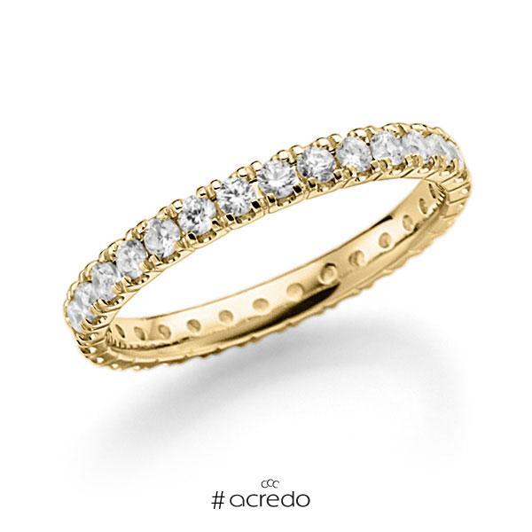 Memoire/Diamantring in Gelbgold 585 vollausgefasst mit zus. 0,9 ct. Brillant tw, vs von acredo