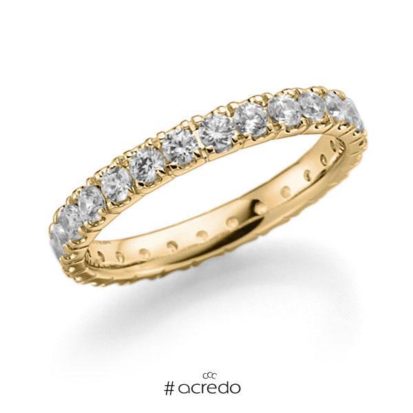 Memoire/Diamantring in Gelbgold 585 vollausgefasst mit zus. 1,3 ct. Brillant tw, vs von acredo