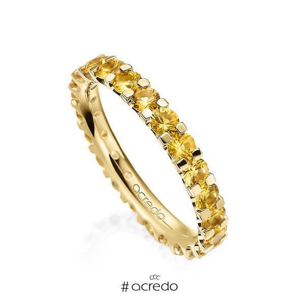 Memoire/Diamantring in Gelbgold 585 vollausgefasst mit zus. 2,07 ct. Brillant Saphir Gelb (A 8) von acredo