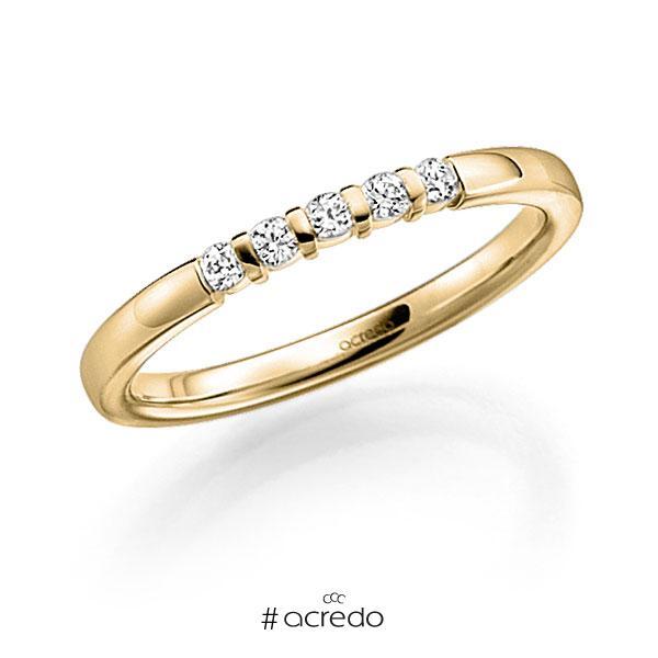 Memoire/Diamantring in Gelbgold 750 mit zus. 0,1 ct. Brillant tw, vs von acredo