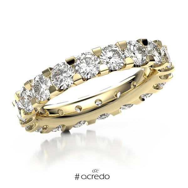 Memoire/Diamantring in Gelbgold 750 vollausgefasst mit zus. 4,14 ct. Brillant tw, vs von acredo