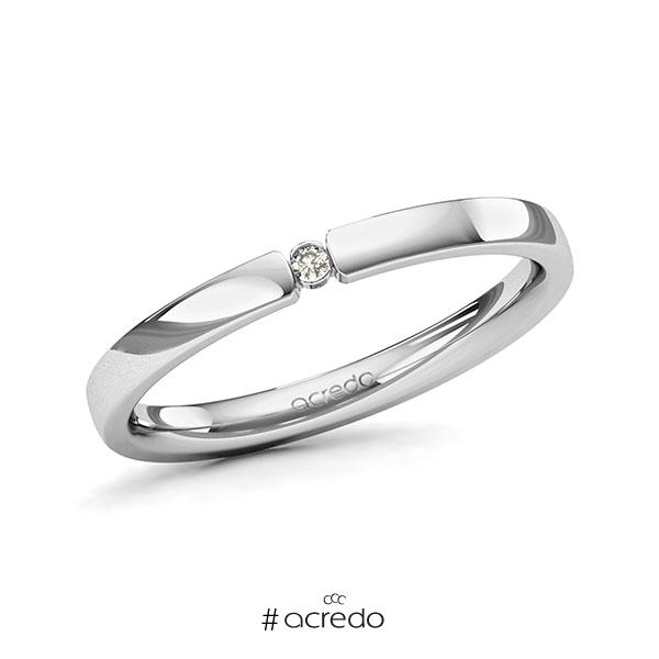 Memoire/Diamantring in Platin 600 mit zus. 0,015 ct. Brillant tw, si von acredo