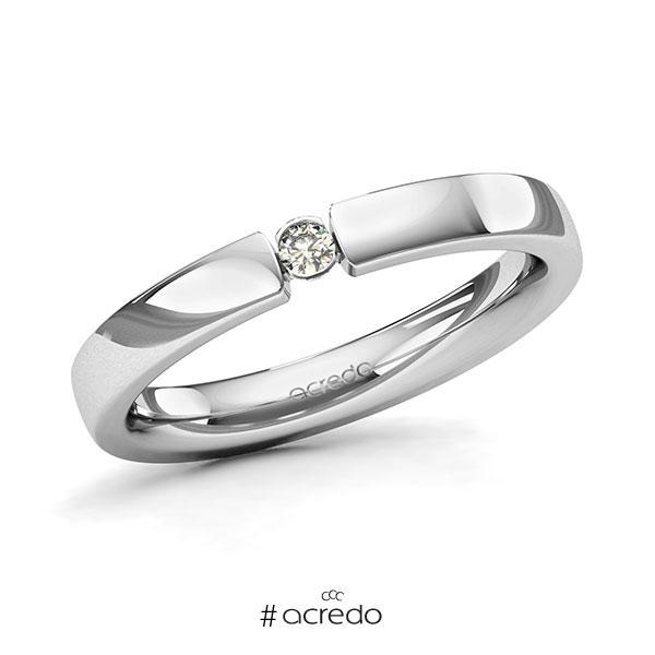Memoire/Diamantring in Platin 600 mit zus. 0,05 ct. Brillant tw, si von acredo
