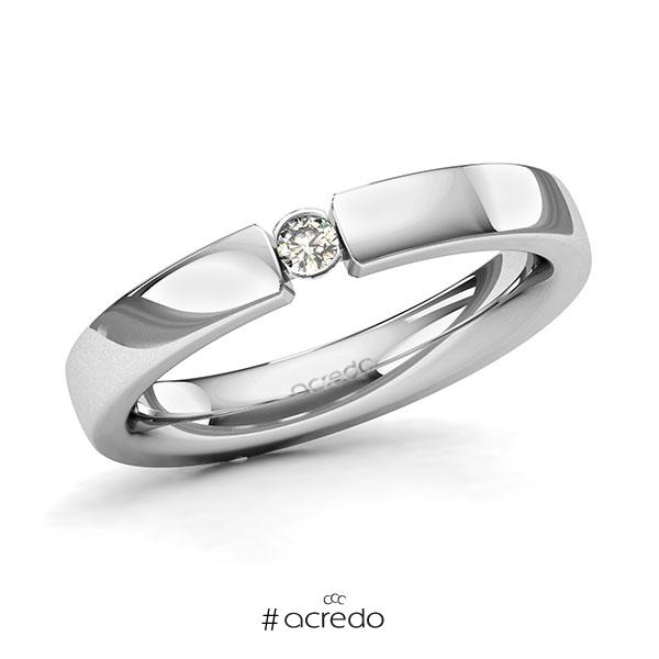 Memoire/Diamantring in Platin 600 mit zus. 0,06 ct. Brillant tw, si von acredo