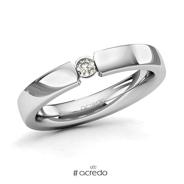 Memoire/Diamantring in Platin 600 mit zus. 0,08 ct. Brillant tw, si von acredo