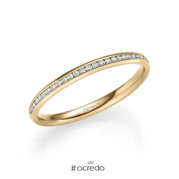 Memoire/Diamantring in Roségold 585 halbausgefasst mit zus. 0,14 ct. Brillant tw, si von acredo