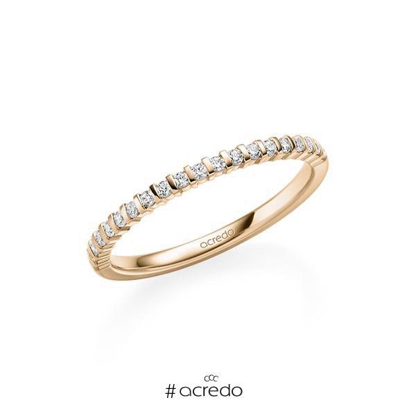 Memoire/Diamantring in Roségold 585 halbausgefasst mit zus. 0,21 ct. Brillant tw, vs von acredo