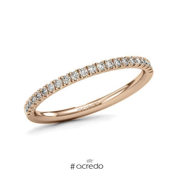 Memoire/Diamantring in Roségold 585 halbausgefasst mit zus. 0,22 ct. Brillant tw, si von acredo