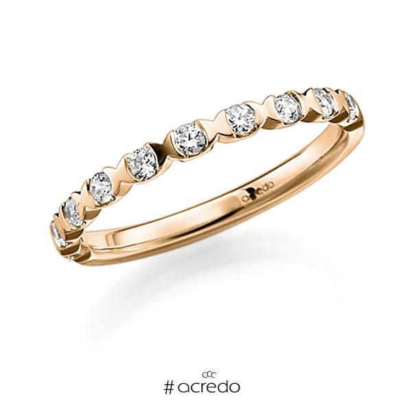 Memoire/Diamantring in Roségold 585 halbausgefasst mit zus. 0,22 ct. Brillant tw, vs von acredo