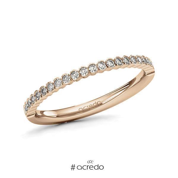 Memoire/Diamantring in Roségold 585 halbausgefasst mit zus. 0,24 ct. Brillant tw, si von acredo