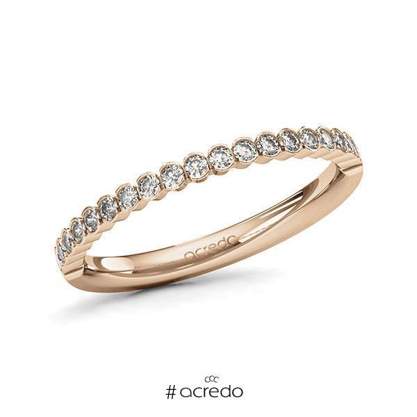 Memoire/Diamantring in Roségold 585 halbausgefasst mit zus. 0,315 ct. Brillant tw, si von acredo