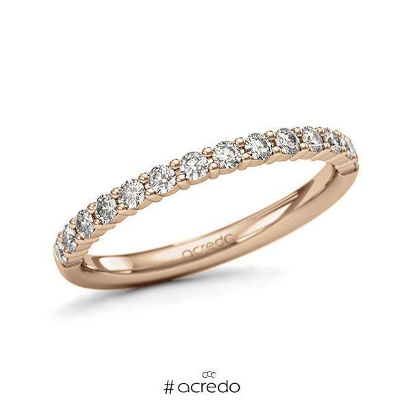 Memoire/Diamantring in Roségold 585 halbausgefasst mit zus. 0,42 ct. Brillant tw, si von acredo
