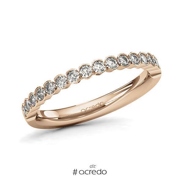 Memoire/Diamantring in Roségold 585 halbausgefasst mit zus. 0,51 ct. Brillant tw, si von acredo