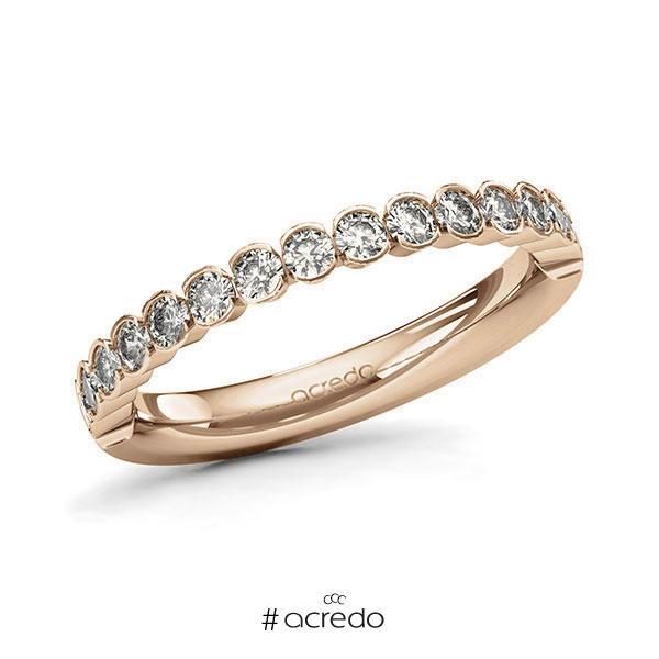 Memoire/Diamantring in Roségold 585 halbausgefasst mit zus. 0,64 ct. Brillant tw, si von acredo