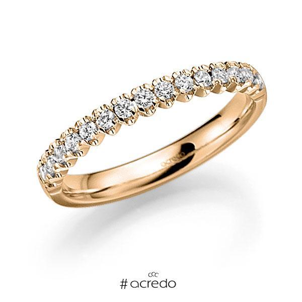 Memoire/Diamantring in Roségold 585 halbausgefasst mit zus. 0,6 ct. Brillant tw, vs von acredo