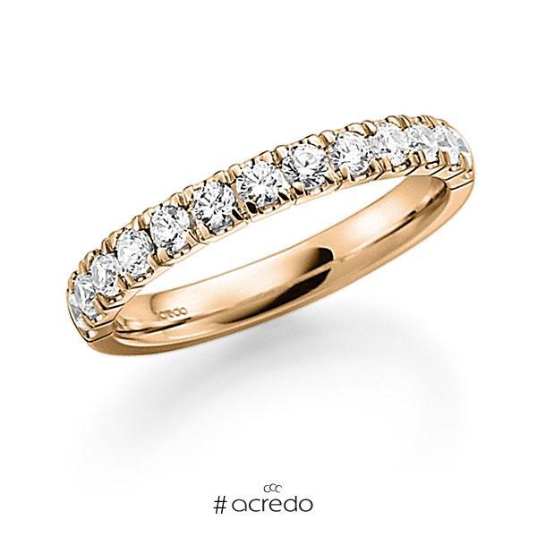 Memoire/Diamantring in Roségold 585 halbausgefasst mit zus. 0,7 ct. Brillant tw, vs von acredo