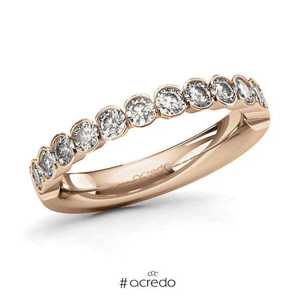 Memoire/Diamantring in Roségold 585 halbausgefasst mit zus. 0,84 ct. Brillant tw, si von acredo