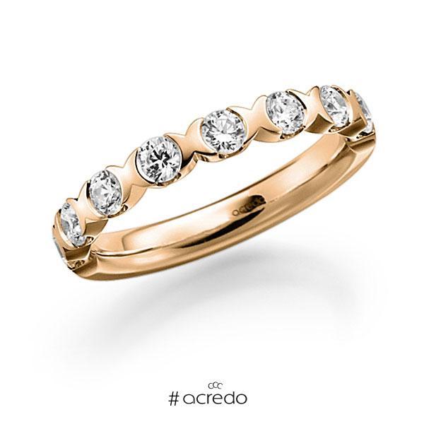 Memoire/Diamantring in Roségold 585 halbausgefasst mit zus. 0,8 ct. Brillant tw, vs von acredo
