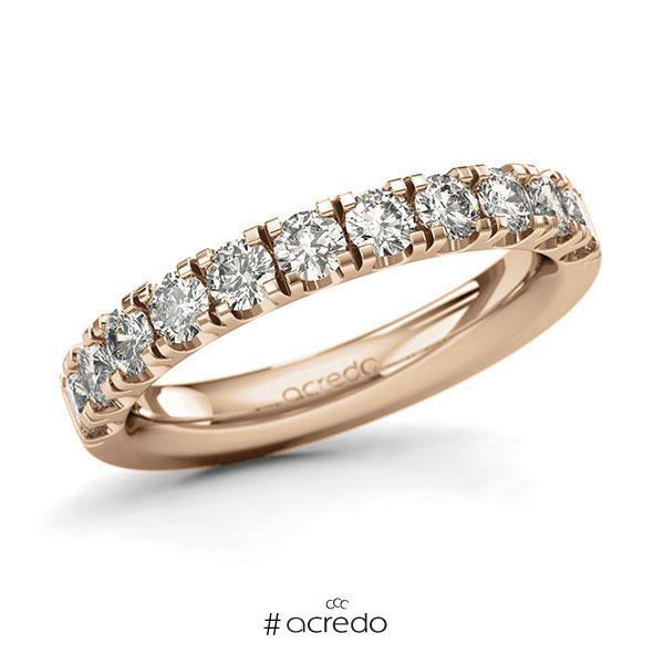 Memoire/Diamantring in Roségold 585 halbausgefasst mit zus. 1,1 ct. Brillant tw, si von acredo