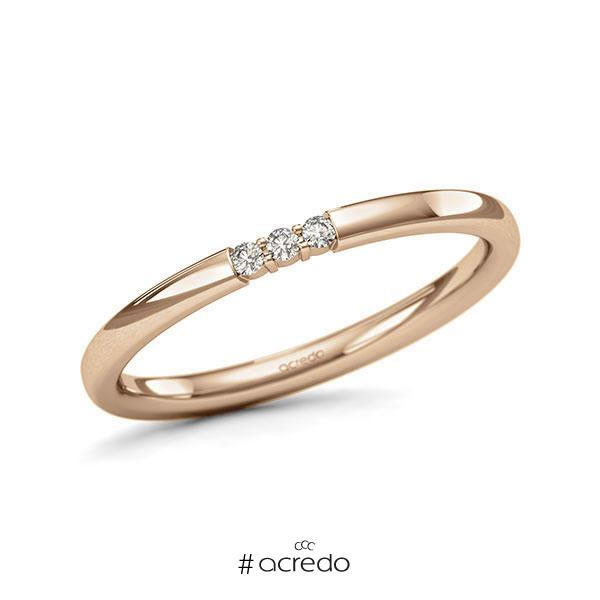 Memoire/Diamantring in Roségold 585 mit zus. 0,045 ct. Brillant tw, si von acredo