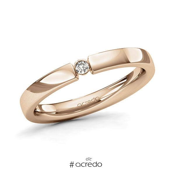 Memoire/Diamantring in Roségold 585 mit zus. 0,04 ct. Brillant tw, si von acredo
