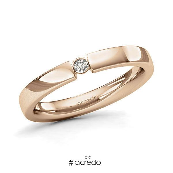 Memoire/Diamantring in Roségold 585 mit zus. 0,05 ct. Brillant tw, si von acredo