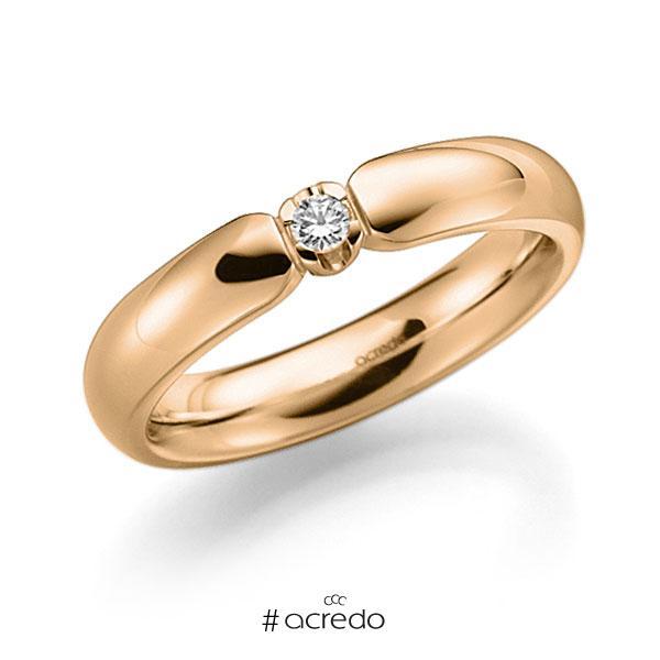 Memoire/Diamantring in Roségold 585 mit zus. 0,05 ct. Brillant tw, vs von acredo