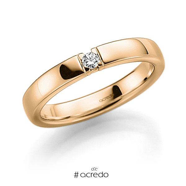 Memoire/Diamantring in Roségold 585 mit zus. 0,05 ct. Brillant tw, vs von acredo