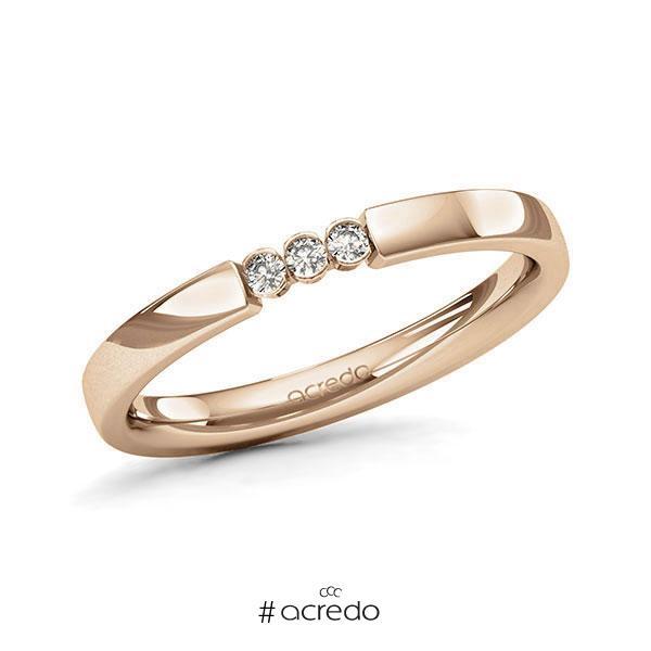 Memoire/Diamantring in Roségold 585 mit zus. 0,06 ct. Brillant tw, si von acredo