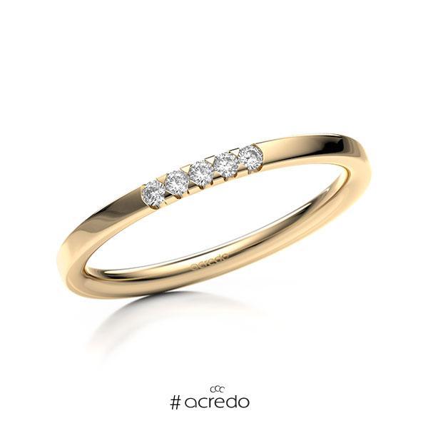Memoire/Diamantring in Roségold 585 mit zus. 0,075 ct. Brillant tw, si von acredo