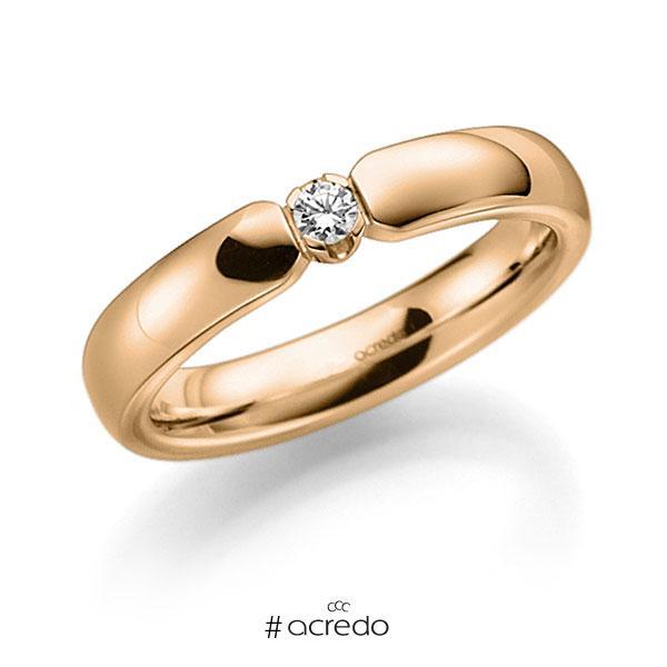 Memoire/Diamantring in Roségold 585 mit zus. 0,07 ct. Brillant tw, vs von acredo