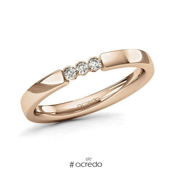 Memoire/Diamantring in Roségold 585 mit zus. 0,09 ct. Brillant tw, si von acredo