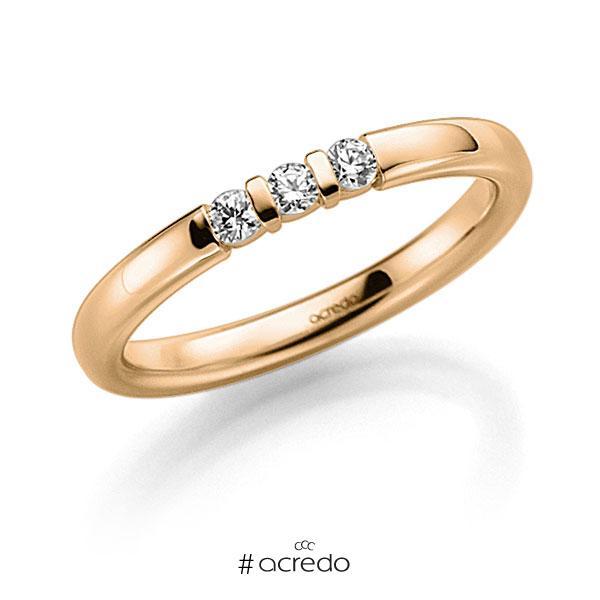 Memoire/Diamantring in Roségold 585 mit zus. 0,09 ct. Brillant tw, vs von acredo