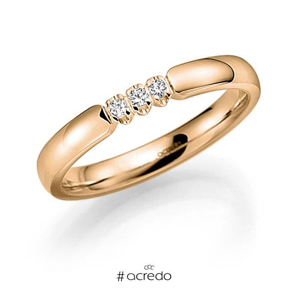 Memoire/Diamantring in Roségold 585 mit zus. 0,09 ct. Brillant tw, vs von acredo