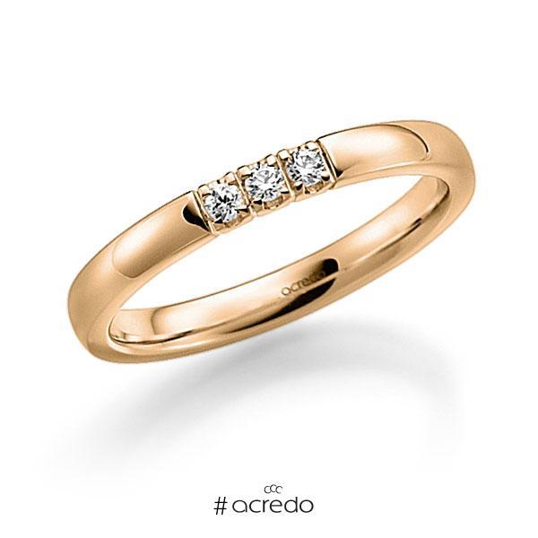 Memoire/Diamantring in Roségold 585 mit zus. 0,12 ct. Brillant tw, vs von acredo