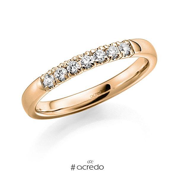 Memoire/Diamantring in Roségold 585 mit zus. 0,14 ct. Brillant tw, vs von acredo