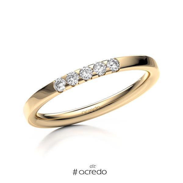 Memoire/Diamantring in Roségold 585 mit zus. 0,15 ct. Brillant tw, si von acredo