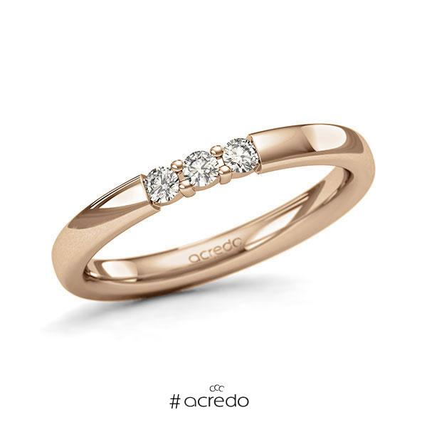 Memoire/Diamantring in Roségold 585 mit zus. 0,15 ct. Brillant tw, si von acredo