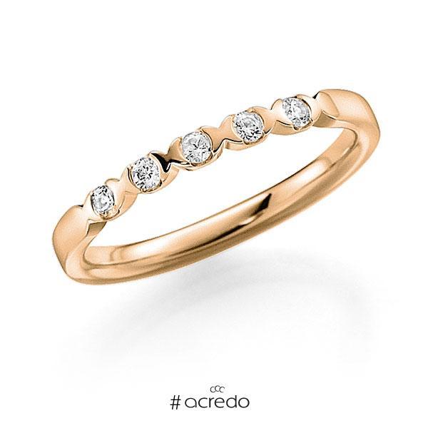 Memoire/Diamantring in Roségold 585 mit zus. 0,15 ct. Brillant tw, vs von acredo