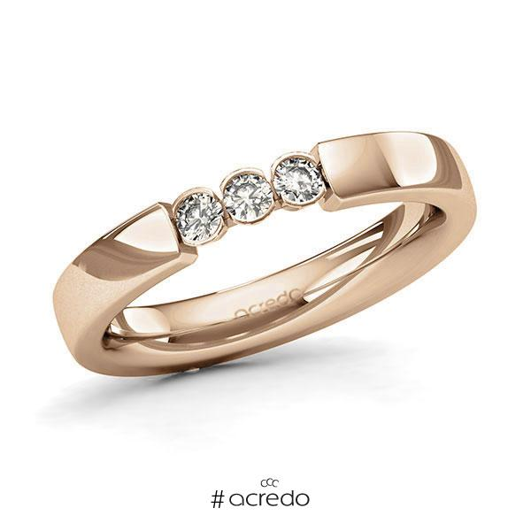 Memoire/Diamantring in Roségold 585 mit zus. 0,18 ct. Brillant tw, si von acredo